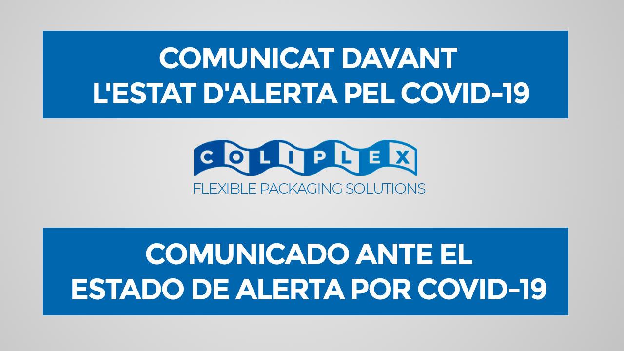 COMUNICADO ANTE EL ESTADO DE ALERTA POR COVID-19